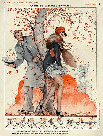 La Vie Parisienne Magazine Cover Image Courtesy of The Advertising Archives: http://www.advertisingarchives.co.uk Vintage, illustrations, covers, artwork, Retro, French magazines, Art Deco, Art Nouveau, Autumn, seasons, wind, saucy, erotica, Vald'es, weather, 1920s