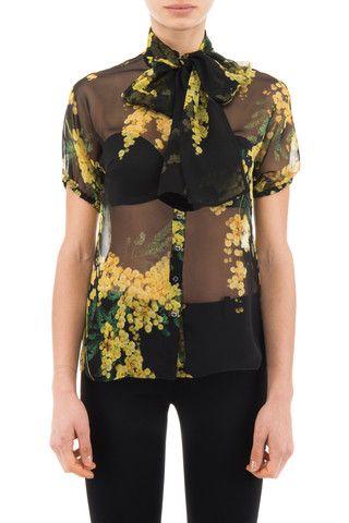 Dolce & Gabbana woman floral print silk chiffon shirt - LuxuryProductsOnline