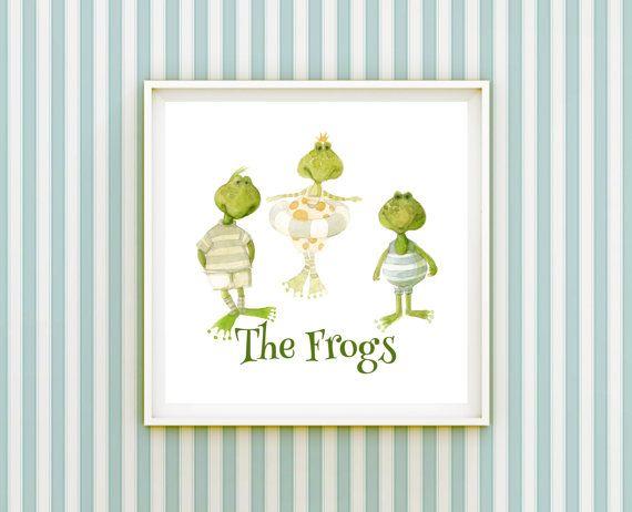 Frogs Nursery Print Cute Green Frogs Bathing Whimsical