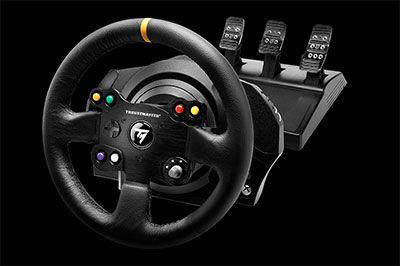 Volant et pédalier TX Racing Wheel Leather Edition - La base sur laquelle se fixe cette roue accueille un servomoteur industriel brushless offrant des effets de force hyper réalistes et réactifs pour vivre intensément toutes les sensations de course. C
