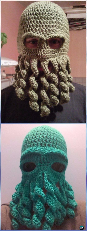 Crochet Cthulhu Octopus hat Free Pattern - Crochet Halloween Hat Free Patterns
