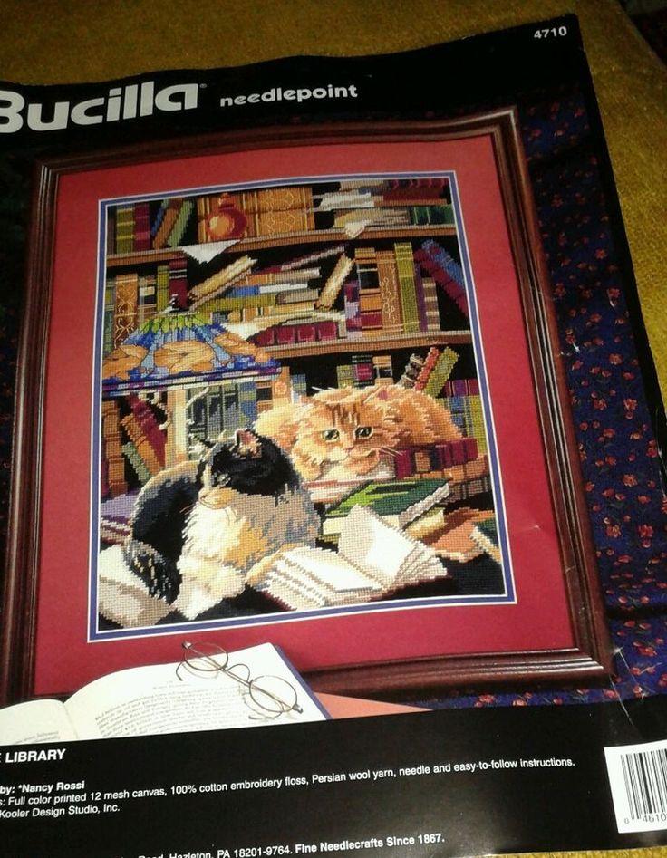 "Bucilla ""Friends of the Library"" Needlepoint Kit 12"" x 16""  dated 1995 #Bucilla"