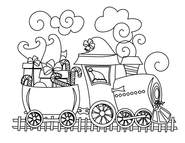 39 best images about train coloring sheets on pinterest for Santa train coloring page