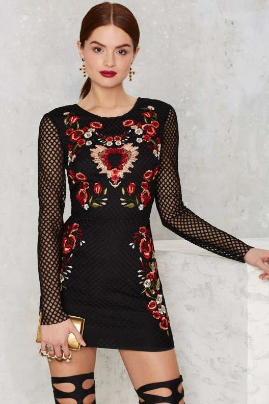 Nasty Gal Midnight Garden Mini Dress - Valentine's Day