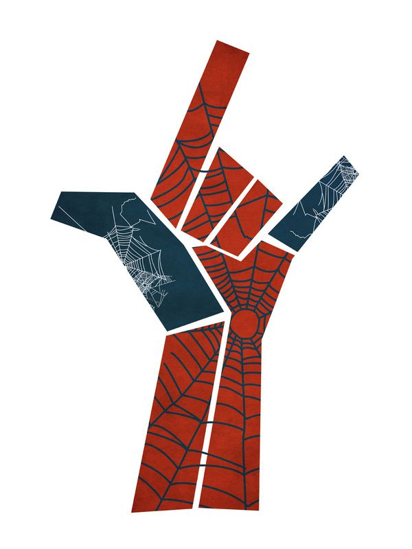 Like the Symbols, color, spider man / rock double meaning. Simple background.
