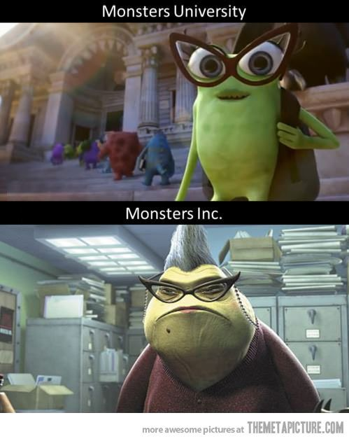 "i am so happy that someone noticed this, in the Monsters University commercial the girl says ""I'm Monsters University."" In the Monster's INC commercial Roz says ""I'm Monsters INC."""