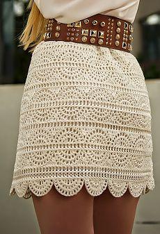 Pollera elegante al crochet - con patrones   Crochet y dos agujas