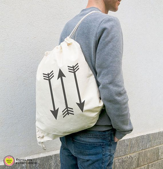 Tribal arrows organic gymsack-arrows bag-sporty gym by naturapicta