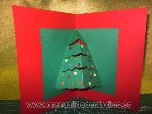 Tarjeta de navidad en 3D | La hoja, Lentejuelas y Tijeras