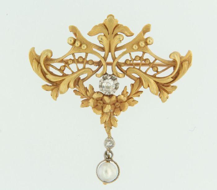 18k bicolor gouden broche bezet met zoet water cultivee parel en diamant
