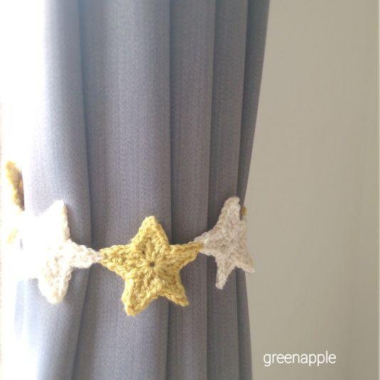 ☆星モチーフの編み編みカーテンタッセル(ブルー×イエロー ... ... 再販★☆星モチーフの編み編みカーテンタッセル(イエロー×アイボリー)