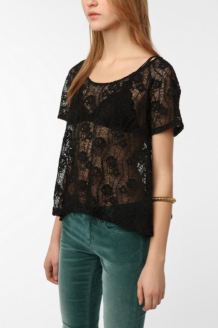 Lace Button-Back Top