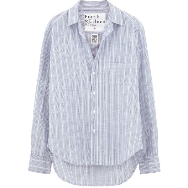 Frank & Eileen Eileen Shirt - Multi-Blue Stripe Italian Chambray ($245) ❤ liked on Polyvore featuring tops, blue top, striped shirt, round top, stripe top and blue stripe shirt