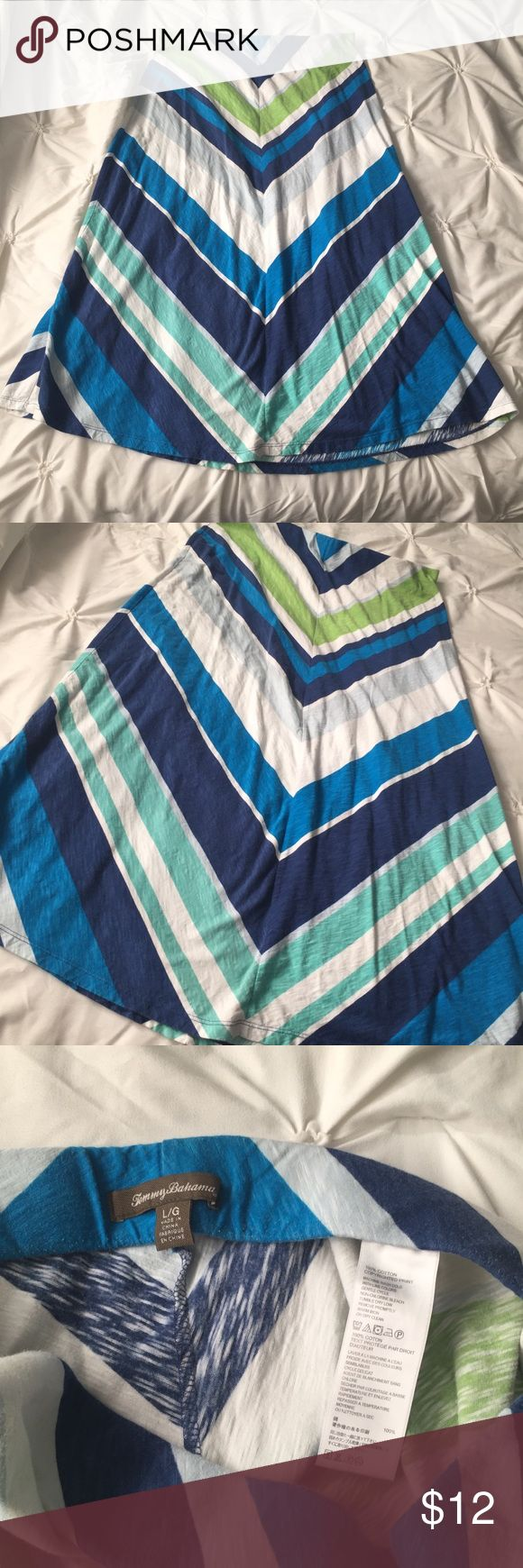 """Tommy Bahama Green, Blue, White Chevron Maxi Skirt Tommy Bahama Green, Blue, White Chevron Maxi Skirt size Large - measures 37.5"""" long top to bottom, elastic waistband, small hole on bottom back as seen in last picture- hardly noticeable when wearing. Price reflects. ----- 🚭 All items are from a non-smoking home. 👆🏻Item is as described, feel free to ask questions. 📦 I am a fast shipper with excellent ratings. 👗I love bundles. Feel free to make an offer! 😍 Like this item? Check out the…"""