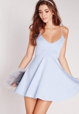 Strappy Skater Dress Blue