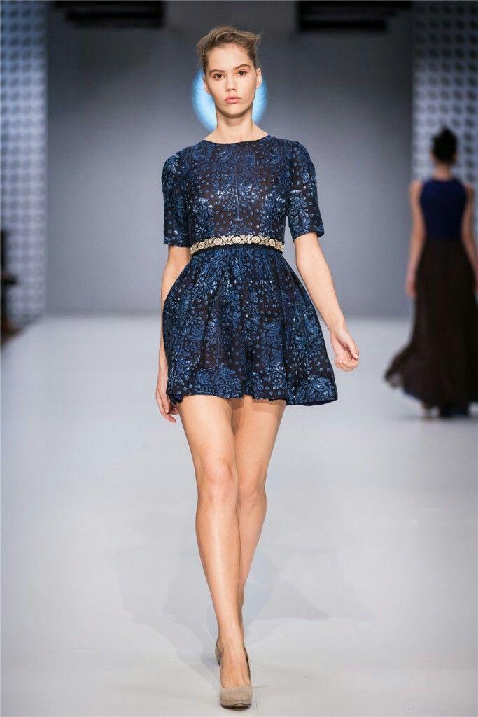 pure silk dress blueprint / True Blue by Jana Gavalcova / CENTRAL EUROPEAN SHOWS / BUDAPEST