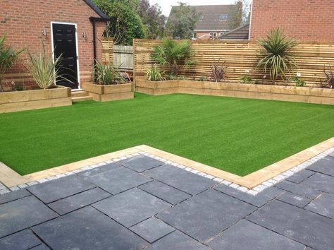 patio, artificial grass and planters - from lawn land ltd