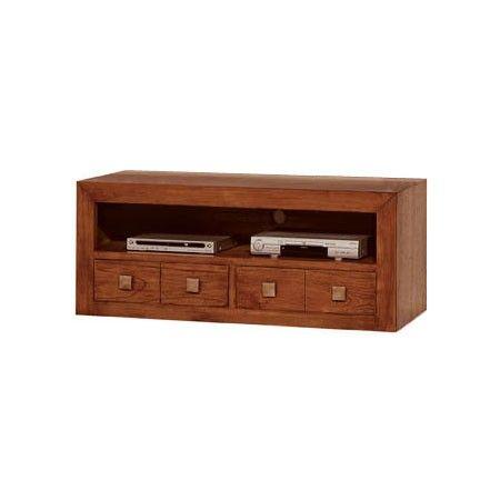 Meuble TV teck 2 tiroirs 1 niche Sunkaï