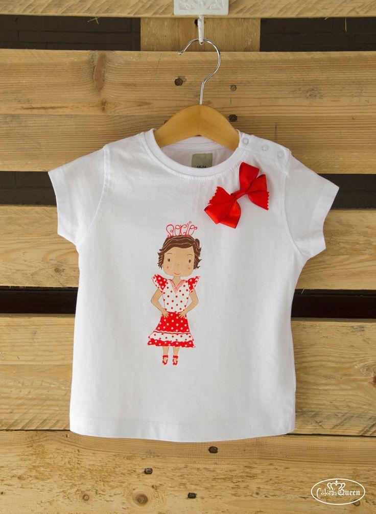 Camiseta personalizada, con dibujo de la pequeña Rocío como flamenca pintado a mano.