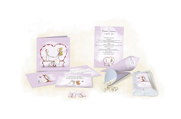 wedding invitations, rise holders, menu, wedding favors tickets, place cards