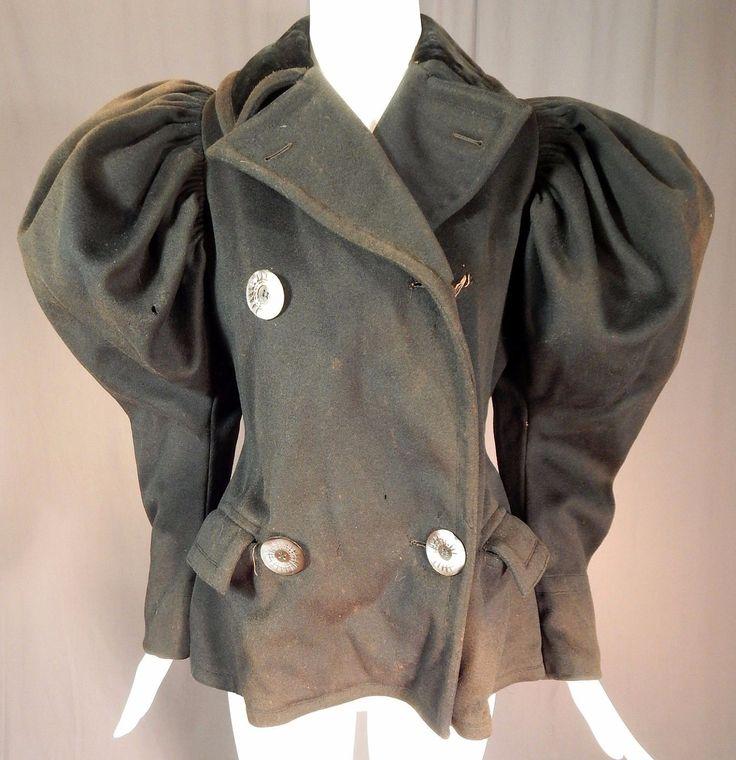 Victorian Black Wool Womens Winter Sportswear Ice Skating Mutton Sleeve Coat Vtg | eBay