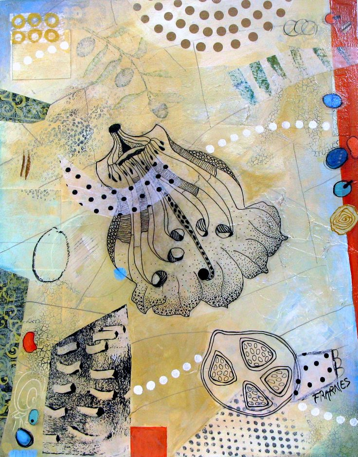 Mixed Media  Collage on board  Françoise Barnes
