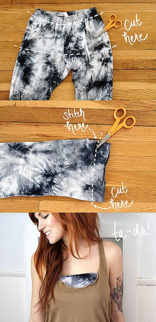 DIY TUTORIAL: make a Bandeau from old leggings. Also super cute blog!Nx