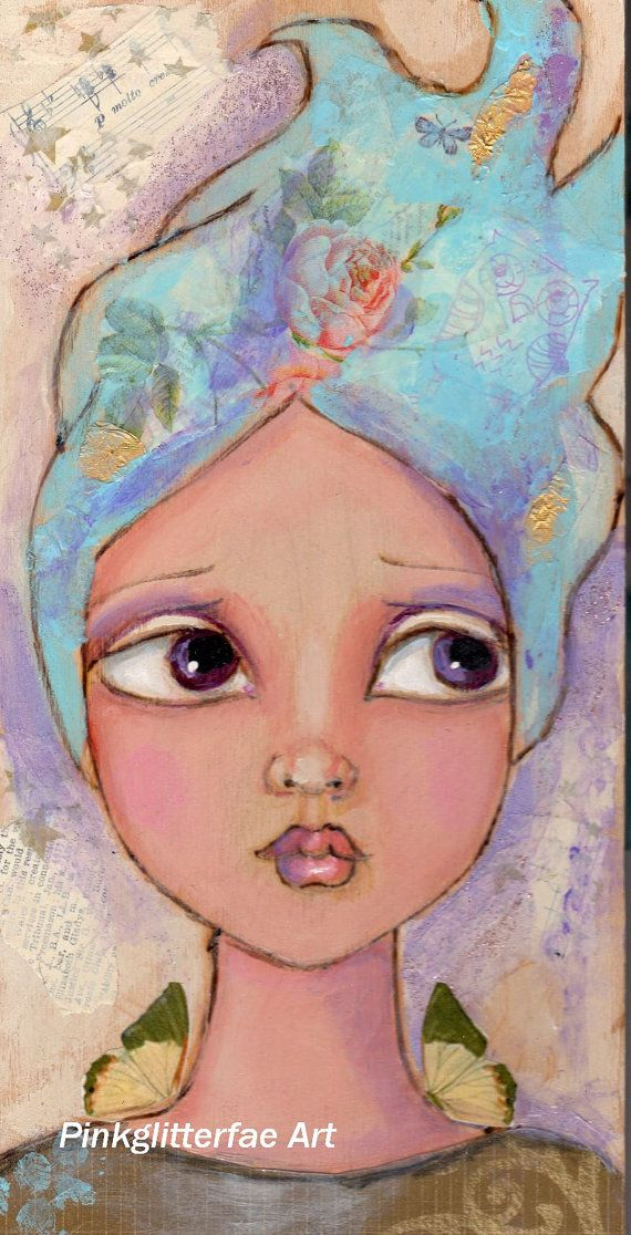 Big eyed Fairy Girl Portrait Original mixed by pinkglitterfae