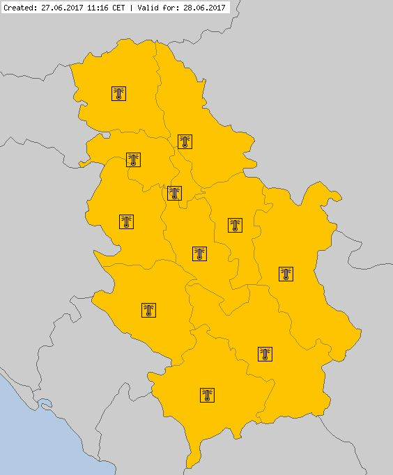 Serbia - BValid for 28.06.2017. Meteoalarm - severe weather warnings for Europe - For detail see www.meteoalarm.rs