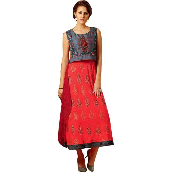 Designer A Flair Red Kurti With Handwork jacket and georgette Back Pattern (Size=42/L)  #Designer #SalwarSuit #SalwarKameez #ShopNow #NewStuff #FreeShipping #DressMaterial #LowestPrice