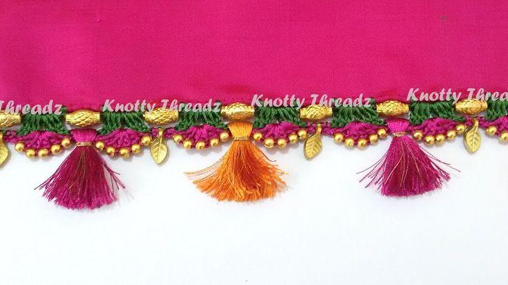 How to do Crochet. Krosha Saree Tassels using Silk Thread, Beads and Kuchu at Home | Tutorial !