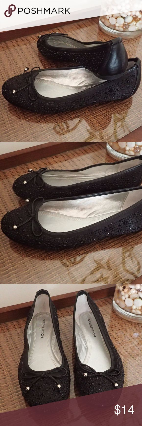 Adrienne Vittadini Black Rhinestone Flats Adrienne Vittadini Black Rhinestone Flats  * Size 6B * Padded footbed * Cathi Collection  * Good condition with signs of wear inside and outside of sole Adrienne Vittadini Shoes Flats & Loafers
