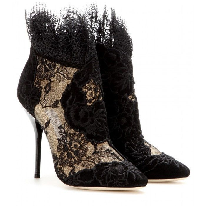 Black Suede Leather Ankle Boots Lace Flower Pointed Toe Short Booties High  Heels