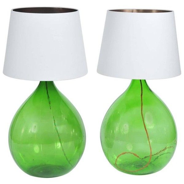 Pair Of Vintage Handmade Green Demijohn Glass Bottles Table/floor... ($1,578) ❤ liked on Polyvore featuring home, lighting, green, table lamps, green lamp, vintage glass shade, glass shade, green shades and green lights