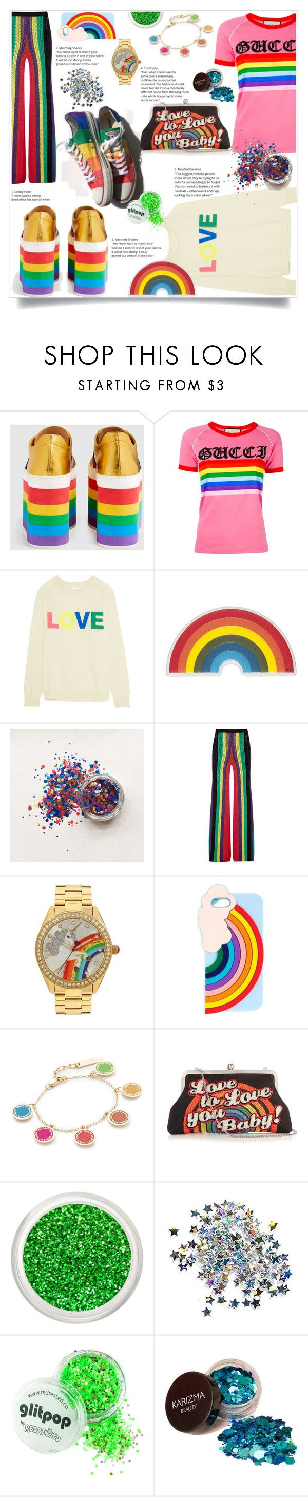 """Love is love is love ❤️"" by xmoonagedaydreamx ❤ liked on Polyvore featuring Gucci, Chinti and Parker, Anya Hindmarch, Balmain, Betsey Johnson, Miss Selfridge, Marc Jacobs, Sarah's Bag, love and pride"