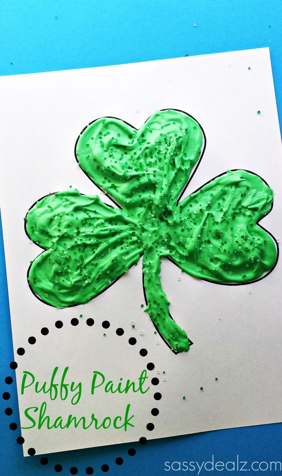 Puffy Paint Shamrock Craft For Kids #St Patricks day art project #Clover #DIY | CraftyMorning.com