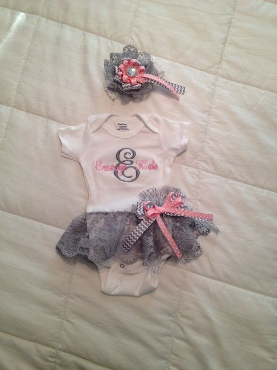 Baby Girl's Monogramed Onesie with Attached Lace Ruffle Skirt. Skirt has a Detachable Matching Bow. Matching Headband. 0-18 Months on Etsy, $25.00