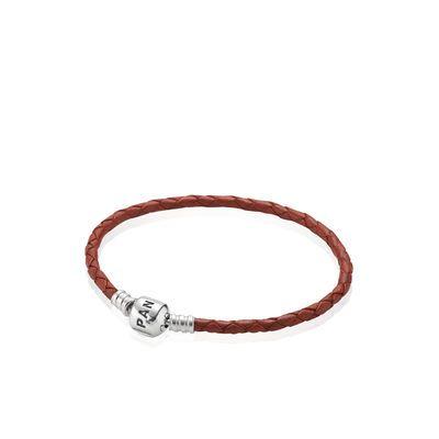 Simple Bracelet Tressé en Cuir - Rouge