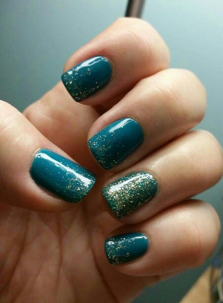 Gelish Garden Teal Party with Sparkle accents