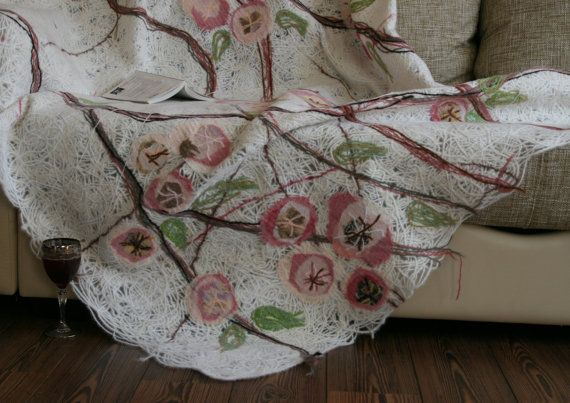 Handmade couch throw cover decorated by Yaga on Etsy, $600.00