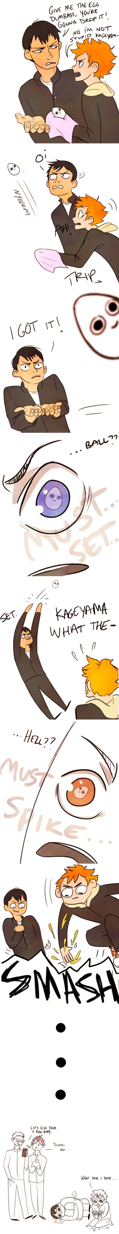 """""""Ball."""" They're like dogs! THIS IS THE BEST THING IVE SEEN IN AWHILE  Haikyuu comic funny (Tumblr: Spatziline) / Kageyama / Hinata / hq / karasuno"""