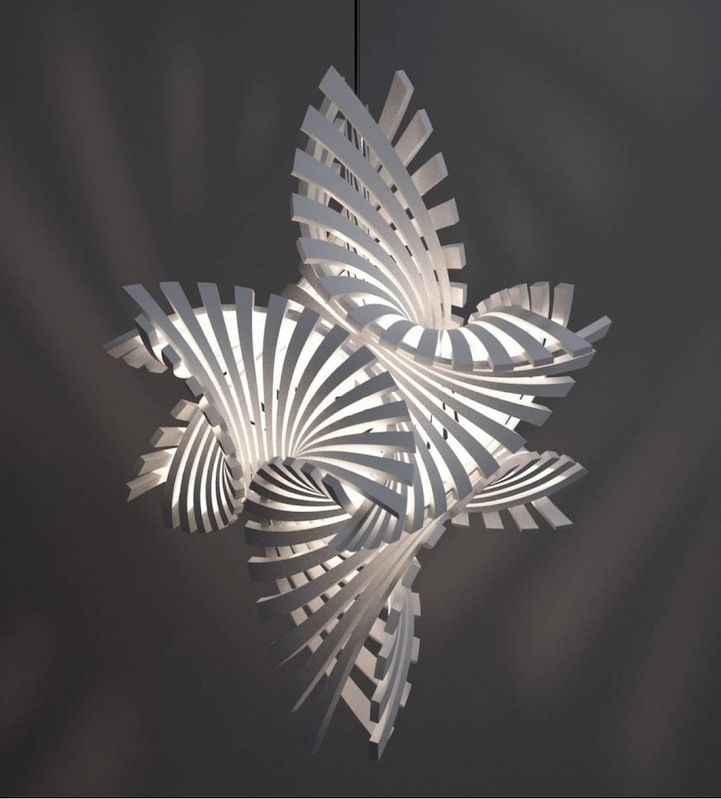 3D printed lamp from Bathsheba Grossman & MGX by Materialism utilising crazy mad geometric shapes.