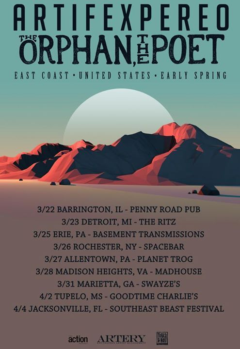 NEWS: The experimental rock band, Artifex Pereo, has announced an East Coast tour, with the Orphan, the Poet, for March and April. You can check out the dates and details at http://digtb.us/1G3lA9O