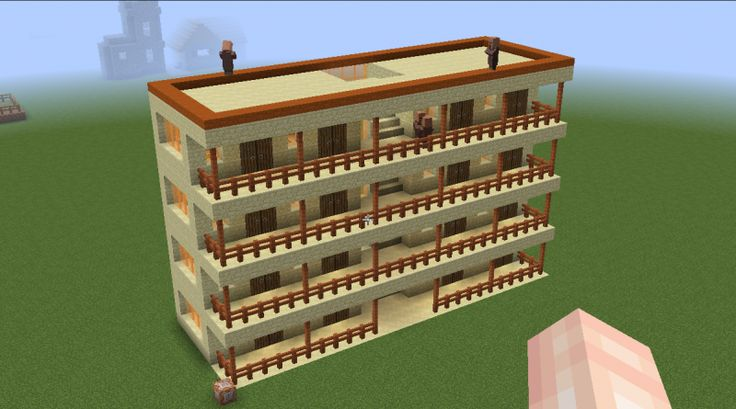 Minecraft Command_Block Villager Accomodation. A Minecraft building from a single command block.