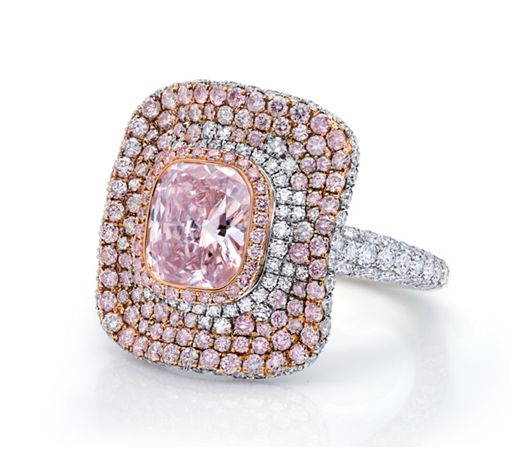 Martin Katz ring set with fancy pink cushion cut diamond.