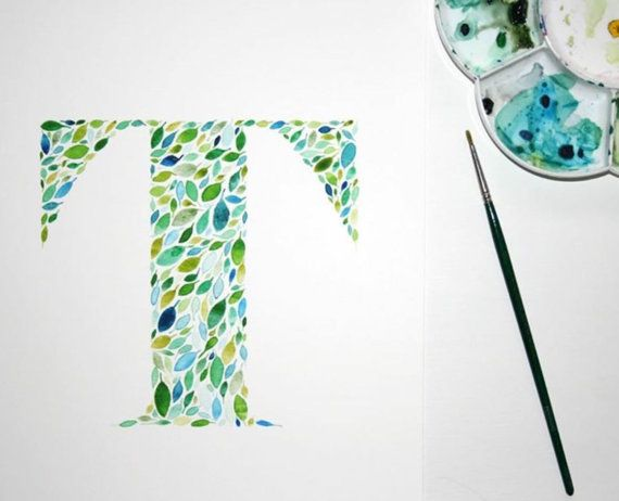 Initial Wall Art Print Watercolour Letter T Artwork Hand