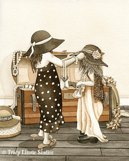 Dress Up - 11x14 archival watercolor print by Tracy Lizotte. $38.00, via Etsy.
