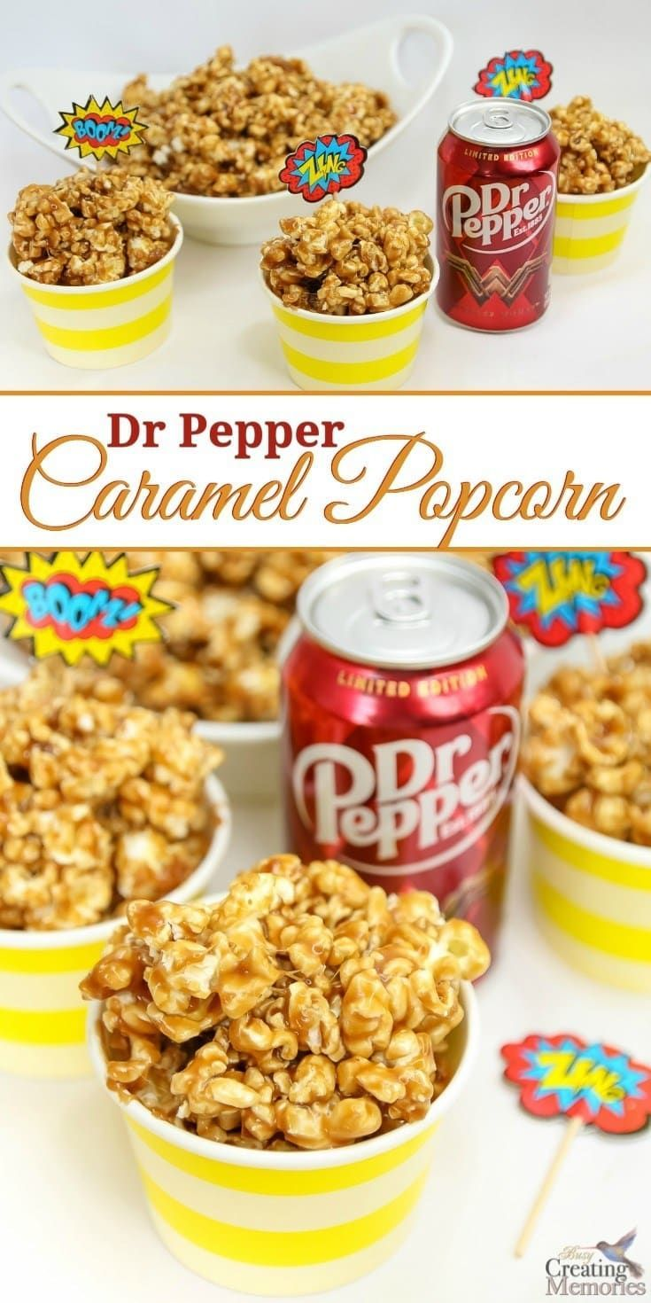 Only the best Caramel Popcorn ever! This easy homemade Dr. Pepper Caramel Popcorn is creamy and sweet with just a hint of authentic Dr. Pepper flavor and makes the perfect snack for movie parties. This recipe uses real Dr Pepper reduced to a syrup, sweete