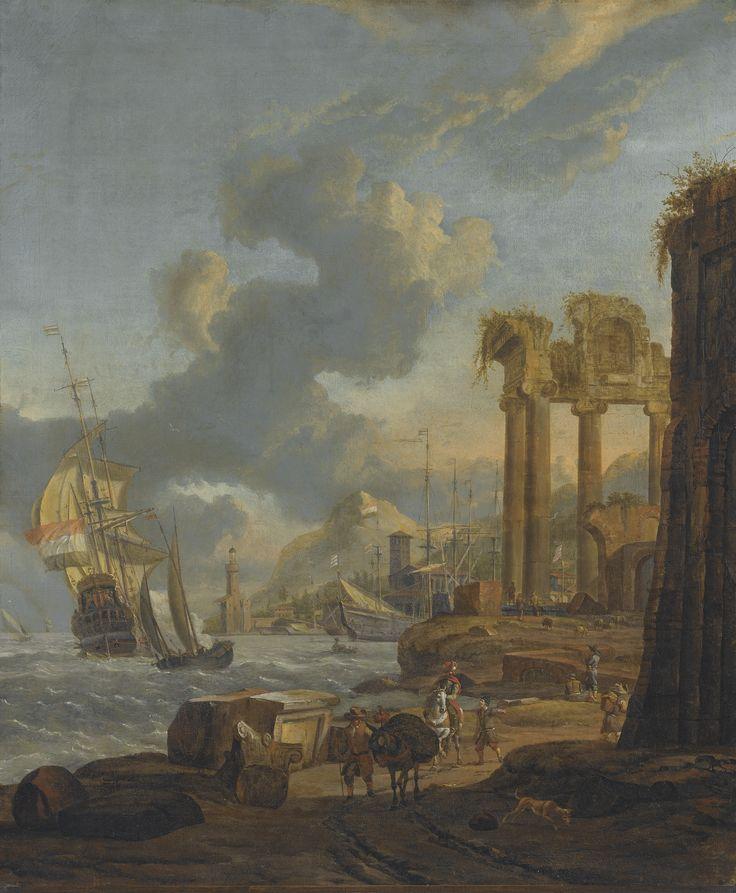 Abraham Storck A MEDITERRANEAN HARBOUR SCENE WITH