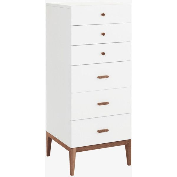 tatsuma white and walnut stained 6 drawer tall chest 295 liked on